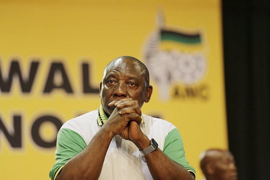 New ANC President Cyril Ramaphosa moments before winning. Photo: EPA-EFE/Cornell Tukiri