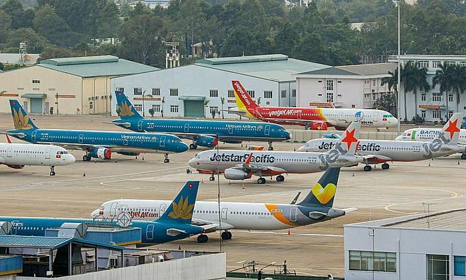 Aircraft at Tan Son Nhat Airport in HCMC in April 2020. Photo: VnExpress