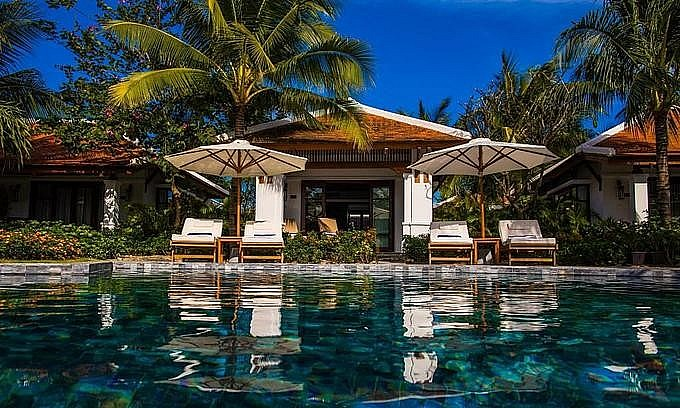A swimming pool inside The Anam resort in Nha Trang beach town. Photo courtesy of the resort. Photo: VnExpress