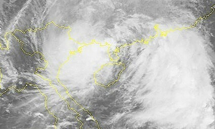 Satellite image of storm Lionrock off the coast of northern Vietnam, October 9, 2021. Photo: National Center for Hydro-Meteorological Forecasting