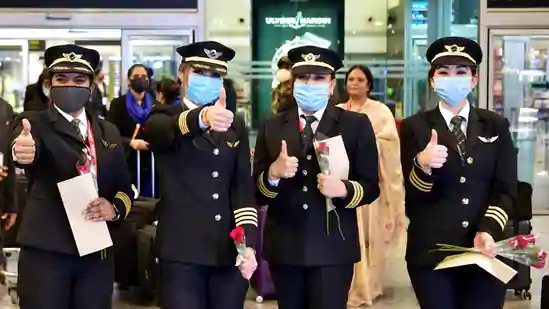 indian all women crew sets record by flying over worlds longest air route