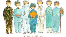 vietnamese french artist graffitis to thank covid 19 medics