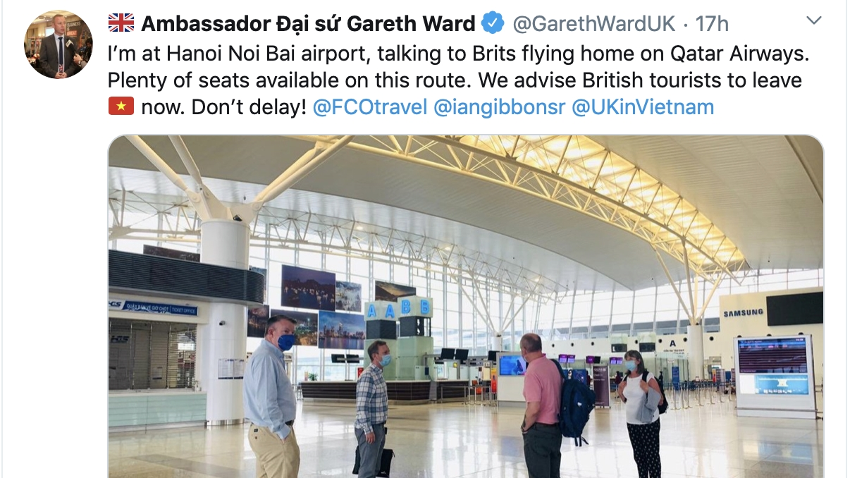 British Ambassador clarifies his tweet advising Brit citizens to leave Vietnam now