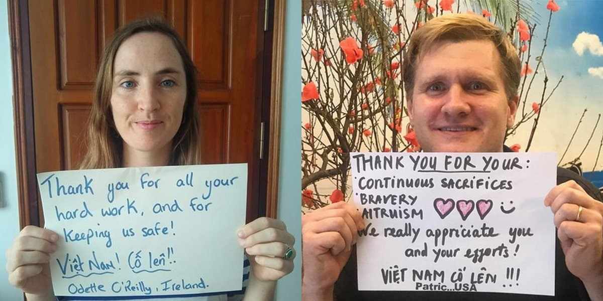foreigners send thanks to vietnam covid 19 front line via touching photos