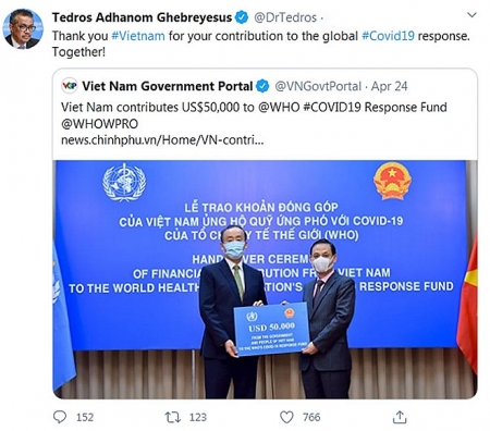 WHO boss thanks Vietnam for USD50,000 contribution to COVID-19 response fund