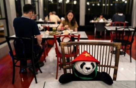 Panda dolls cheer up Thai diners amid social distancing