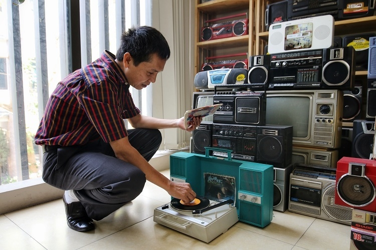 unique cassette player collection by hanoi man a return to 90s youth