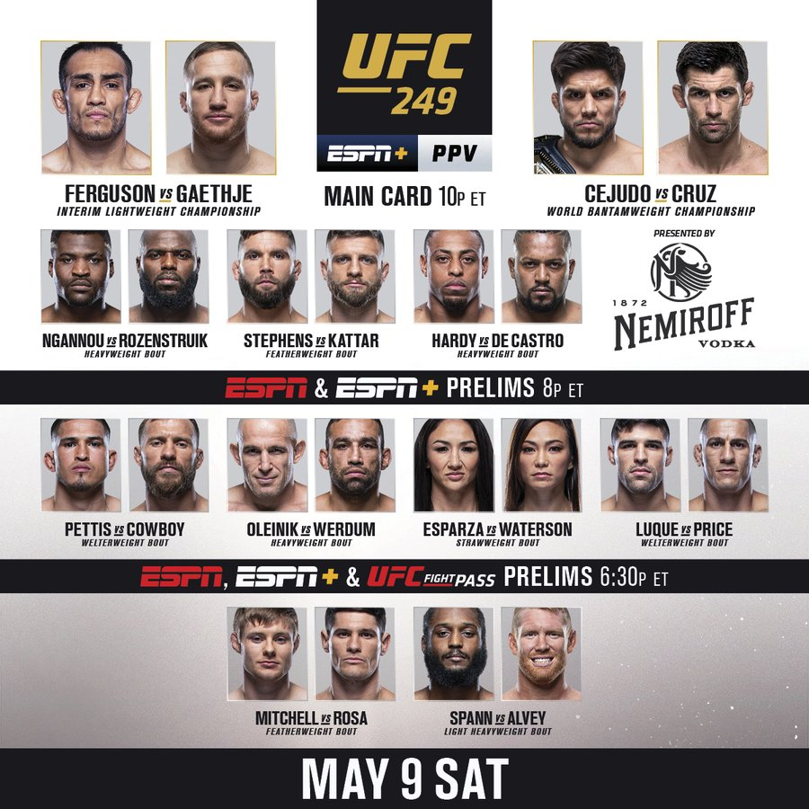 UFC becomes first major professional sports event to return in the U.S