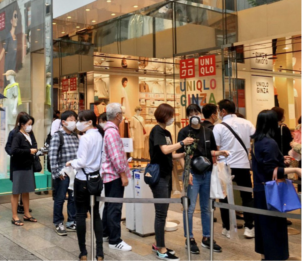 uniqlos washable quick drying masks launched in japan long queue formed