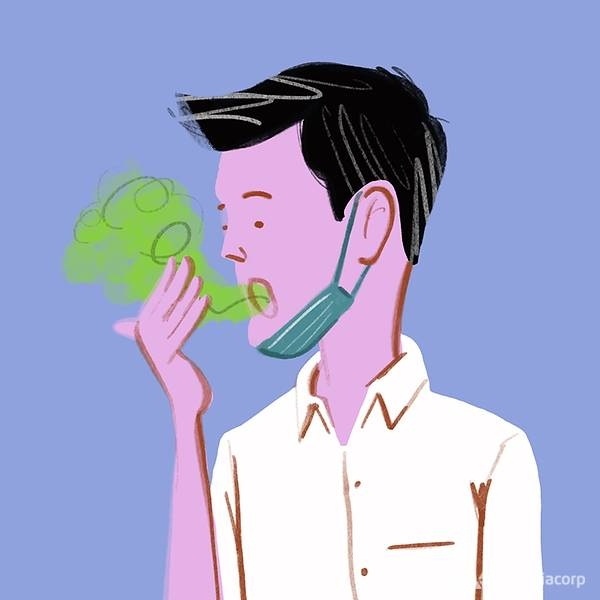 2759 illustration of man with mask pulled down sniffing his breath