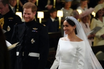 newlyweds harry and meghan process through windsor