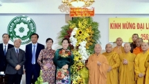 Buddhist dignitaries and followers congratulated on Lord Buddha's Birthday
