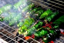 grilled beef in betel leaves with bun noodles