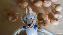 vietnam craftsman making world cup mascots from eggshells
