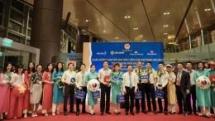 vietnams first international flight lands at van don airport