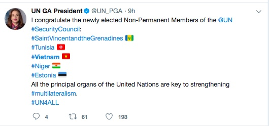 International friends congratulate Vietnam's UN Security Council election