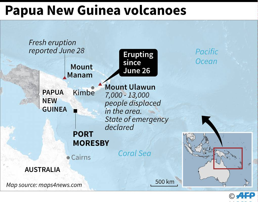 Volcano erupts in Papua New Guinea, army deployed