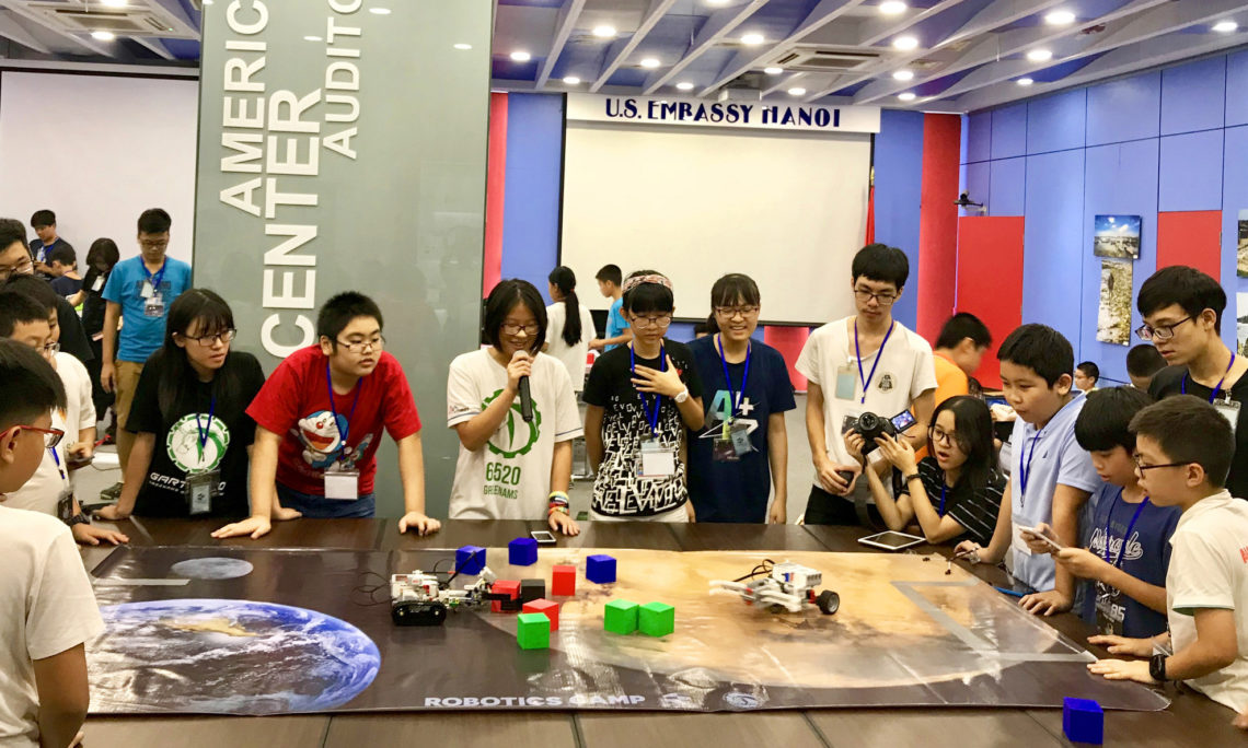 Local Students Learn Tech Skills at U.S. Embassy Robotics Camp
