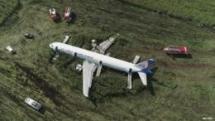 russian plane makes emergency landing after striking a flock of birds