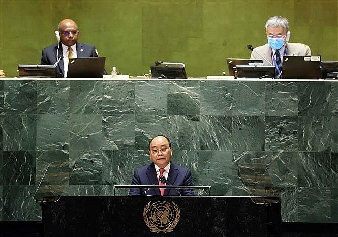 President Nguyen Xuan Phuc giving a speech at the 76th UN General Assembly. Photo: VNA