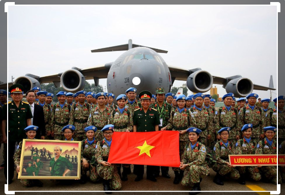 vietnamese peacekeepers maintain peace to the world to defend the country