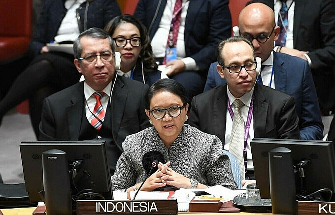 Indonesian-Foreign-Minister-Retno-Marsudi-(center)-attended-a-debate-session-at-the-UN-Security-Council-in-January-2019.-Photo:-BNG-Indonesia